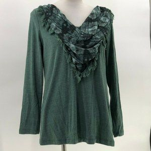Signature Weekend sweater top drape scarf neck L